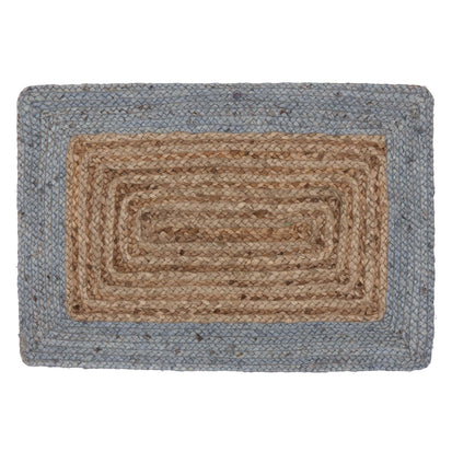 Nandi Doormat natural & light grey blue, 100% jute