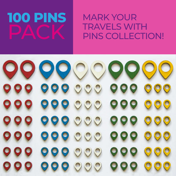 100 Push Pins For Wooden Wolrd Map