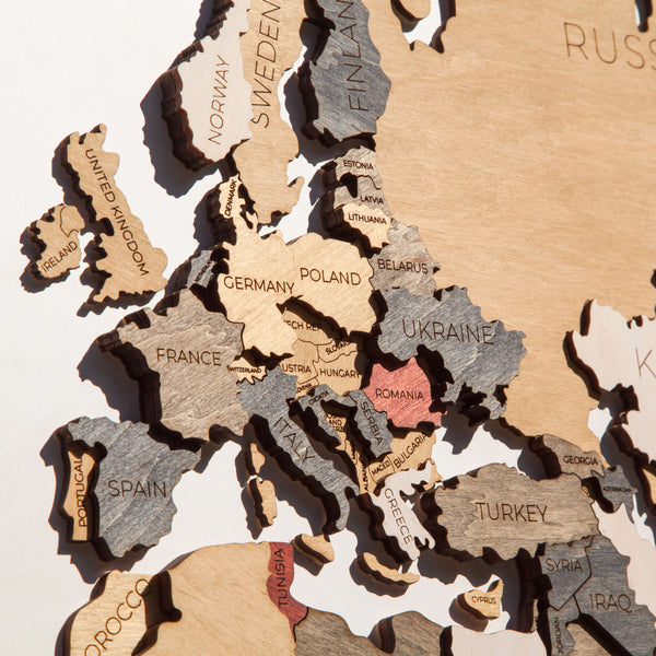 Map of the World made from wood