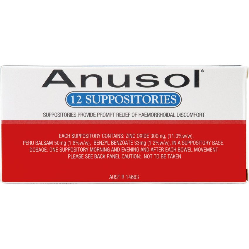 ANUSOL Suppositories, 12 Pack
