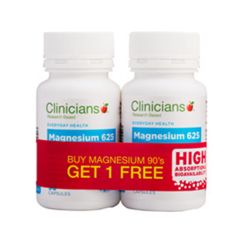 CLINICIANS Magnesium 625mg, 90's (Buy 1 Get 1 Free)