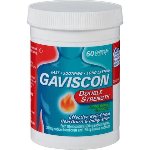 GAVISCON Double Strength Peppermint Chewable Tablets, 60's