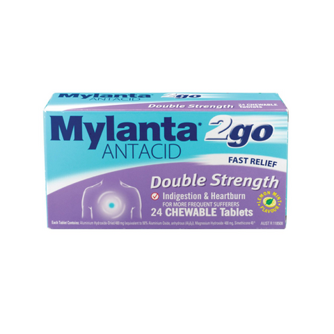 MYLANTA 2 Go Double Strength Tablets, 24's