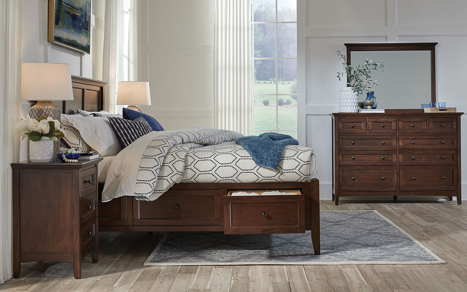 Central Park King Storage Bed Cherry Brown