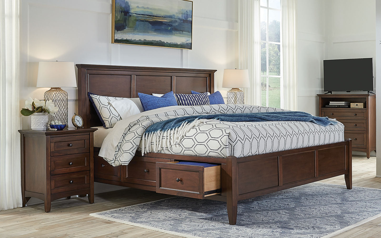 Central Park Queen Storage Bed Cherry Brown