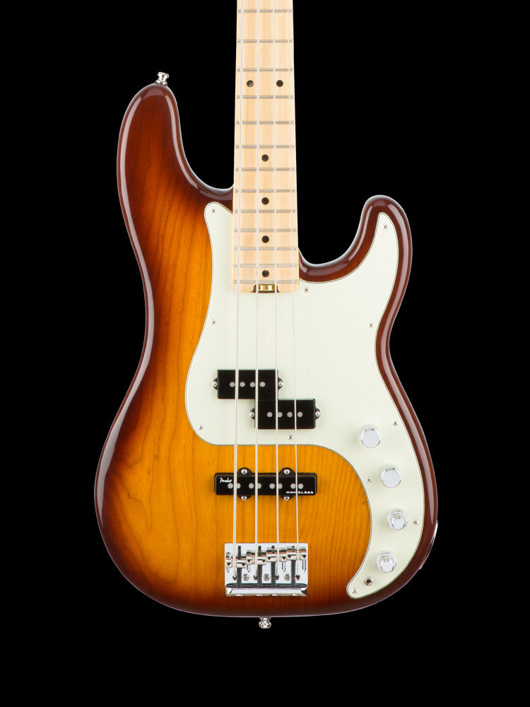 Fender American Elite Precision Bass - Maple Neck - Tabacco Sunburst - Elite Case - 9lbs