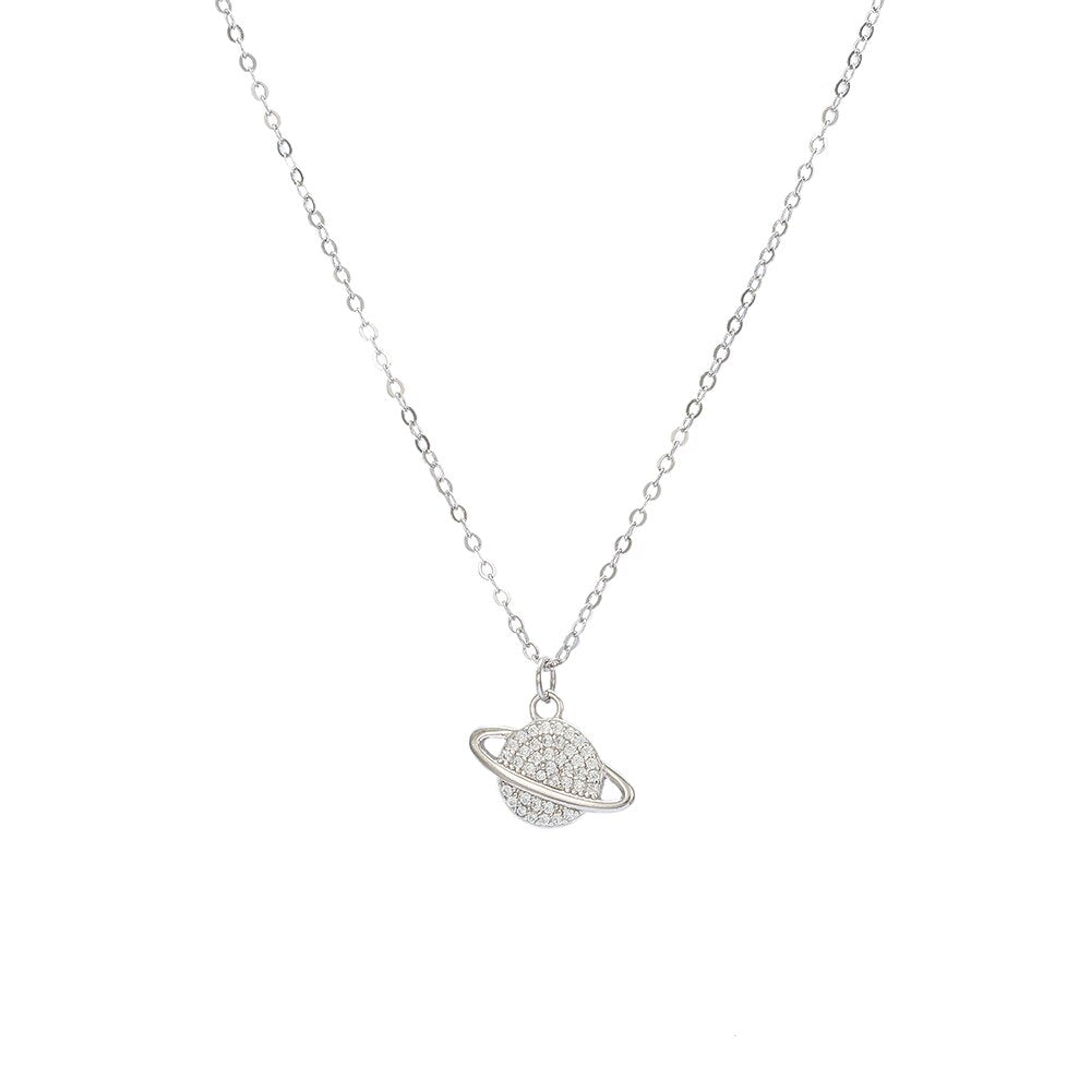 Sterling Silver Saturn Necklace