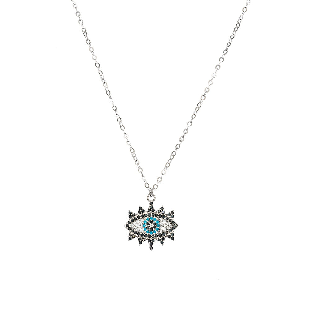 Sterling Silver Evil Eye Necklace with Mascara
