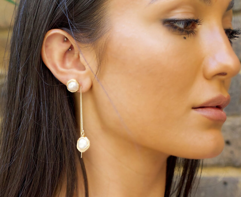 Gold Plated Single Pearl Chain Earrings