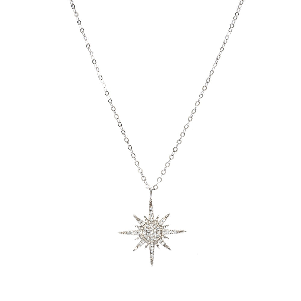 Sterling Silver Simple North Star Necklace
