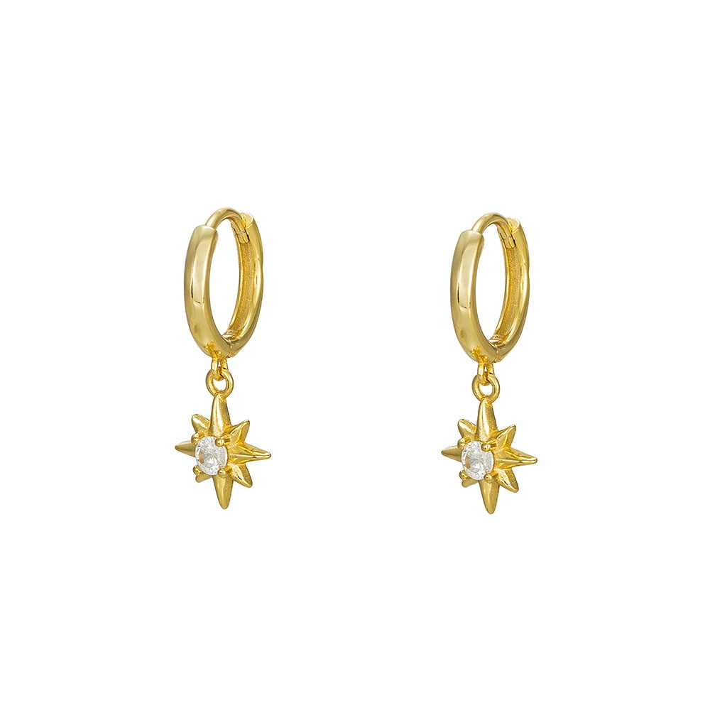 Sterling Silver Star Dangly Earrings