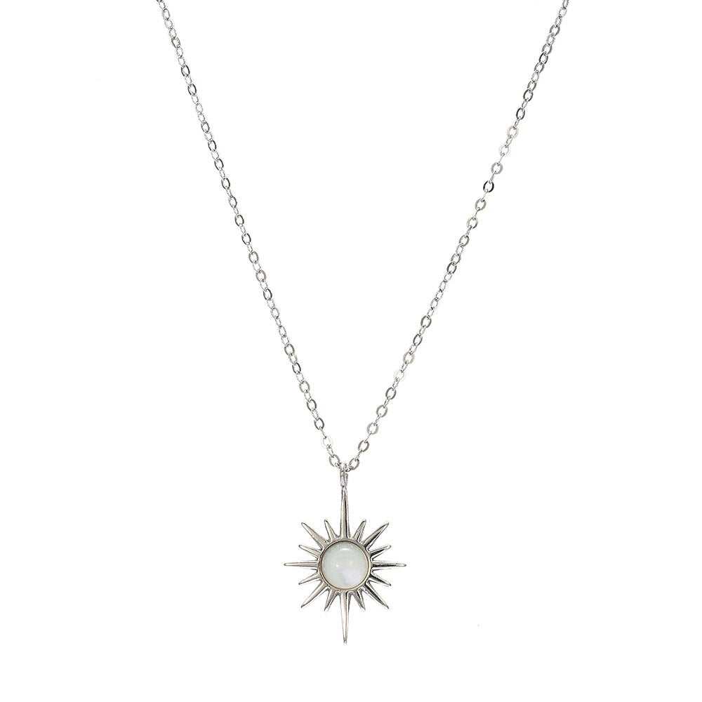 Sterling Silver Gemstone North Star Necklace