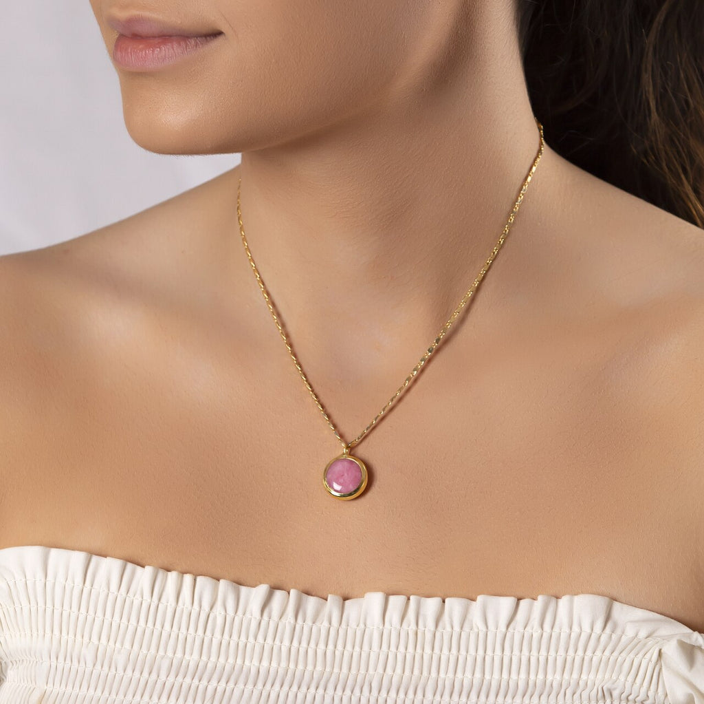 Gold Plated Round Ruby Necklace