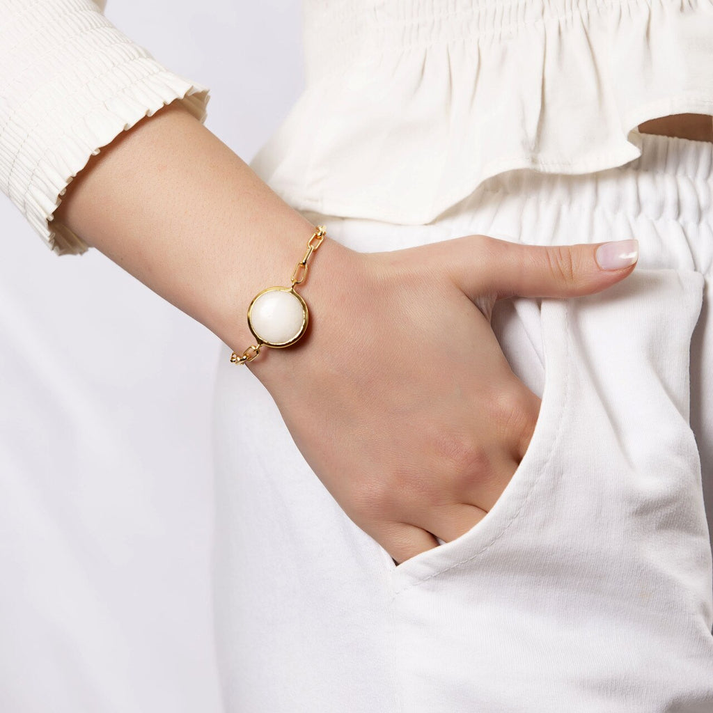 Gold Plated Round White Agate Bracelet