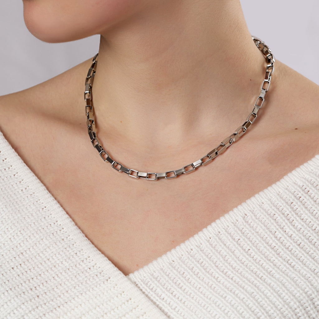 Gold Plated Long Box Chain Necklace