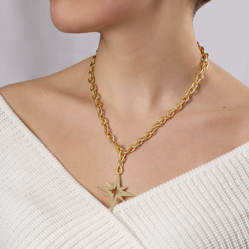 Gold Plated Classic Cable Chain Necklace with North Star Charm