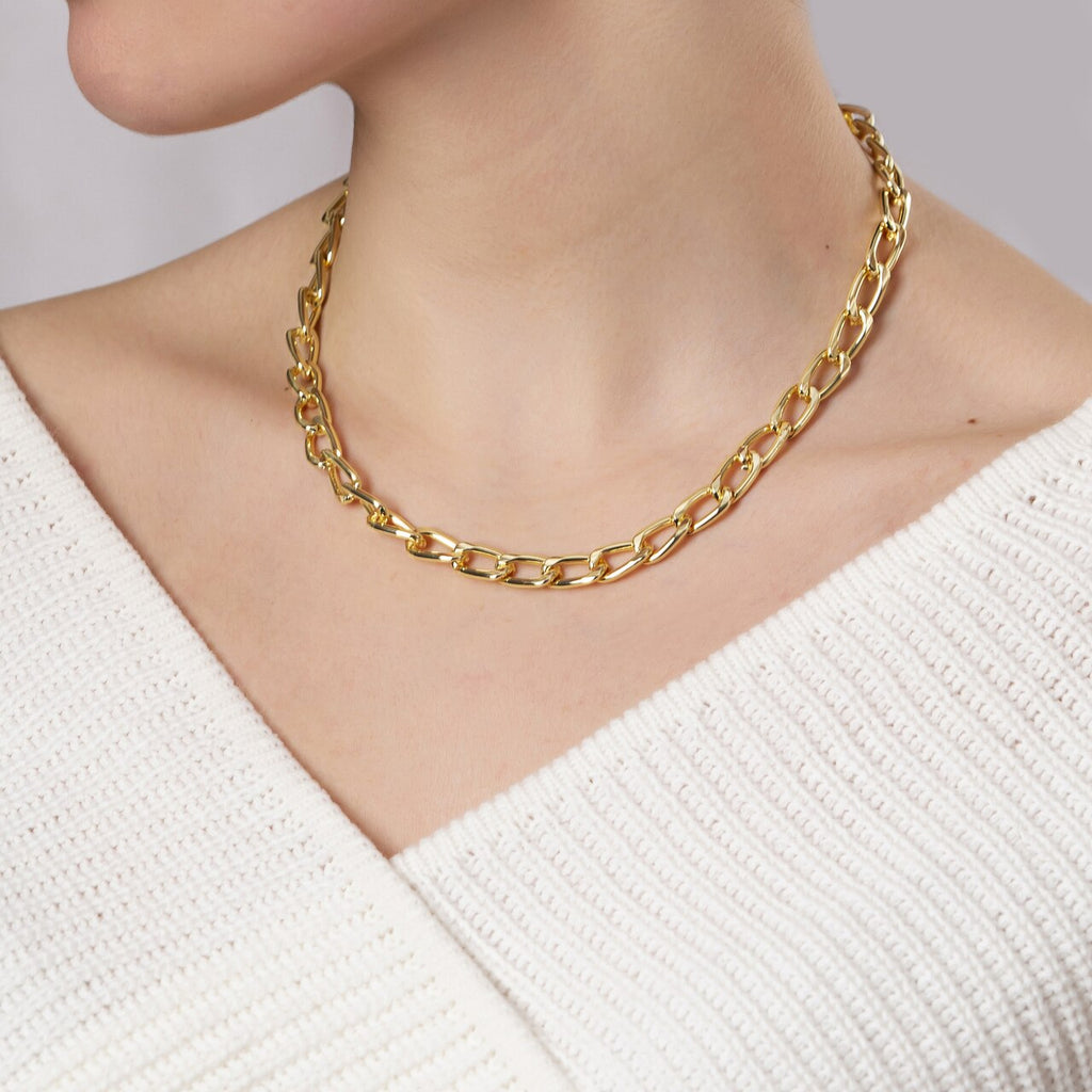 Gold Plated Large Curb Chain Necklace