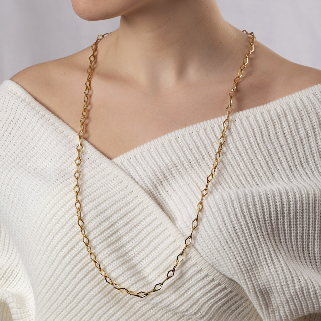 Gold Plated Rhombus Chain Necklace