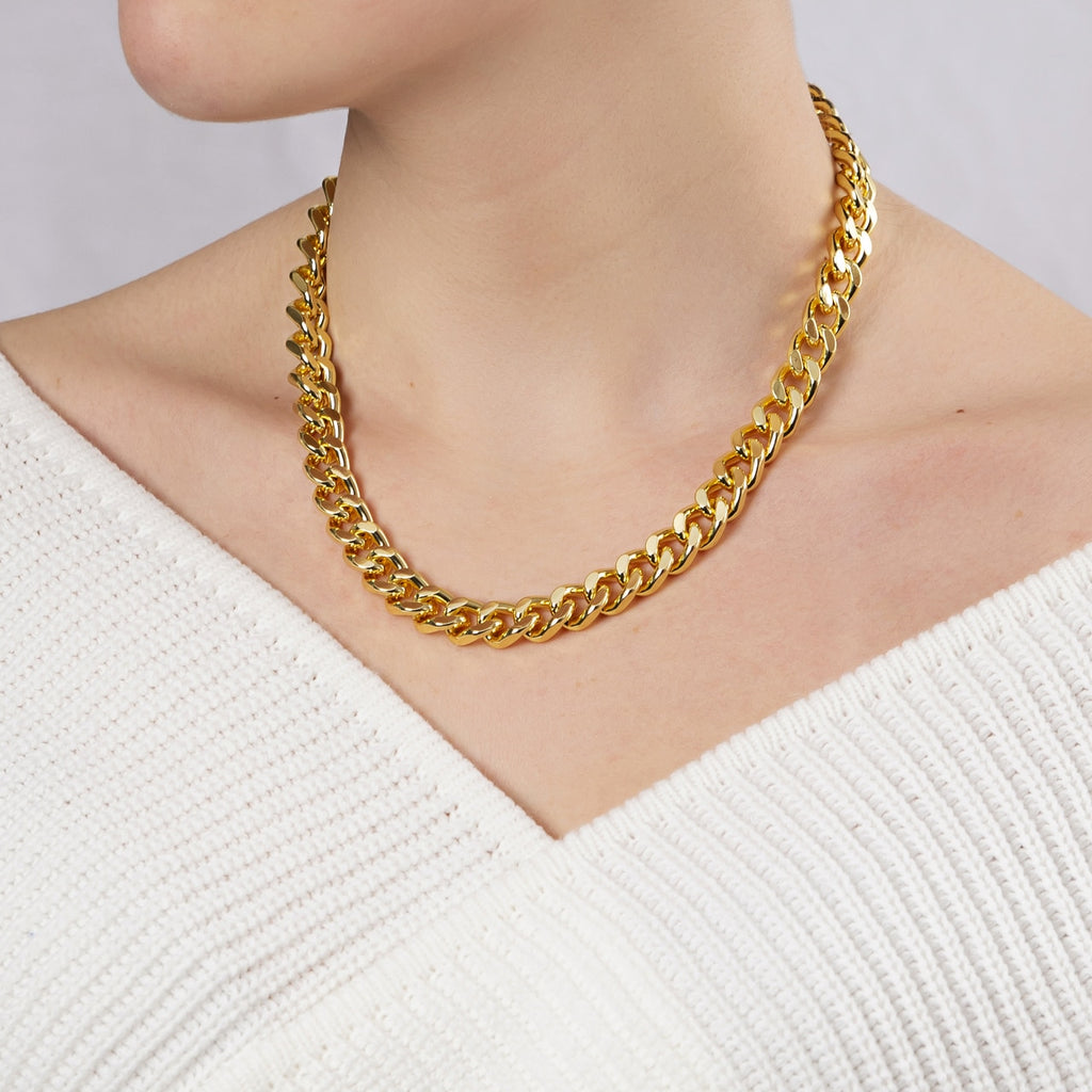 Gold Plated Classic Curb Chain Necklace