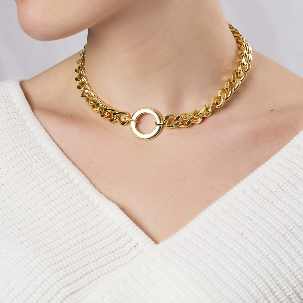 Gold Plated Classic Curb Chain Necklace with Circle Charm