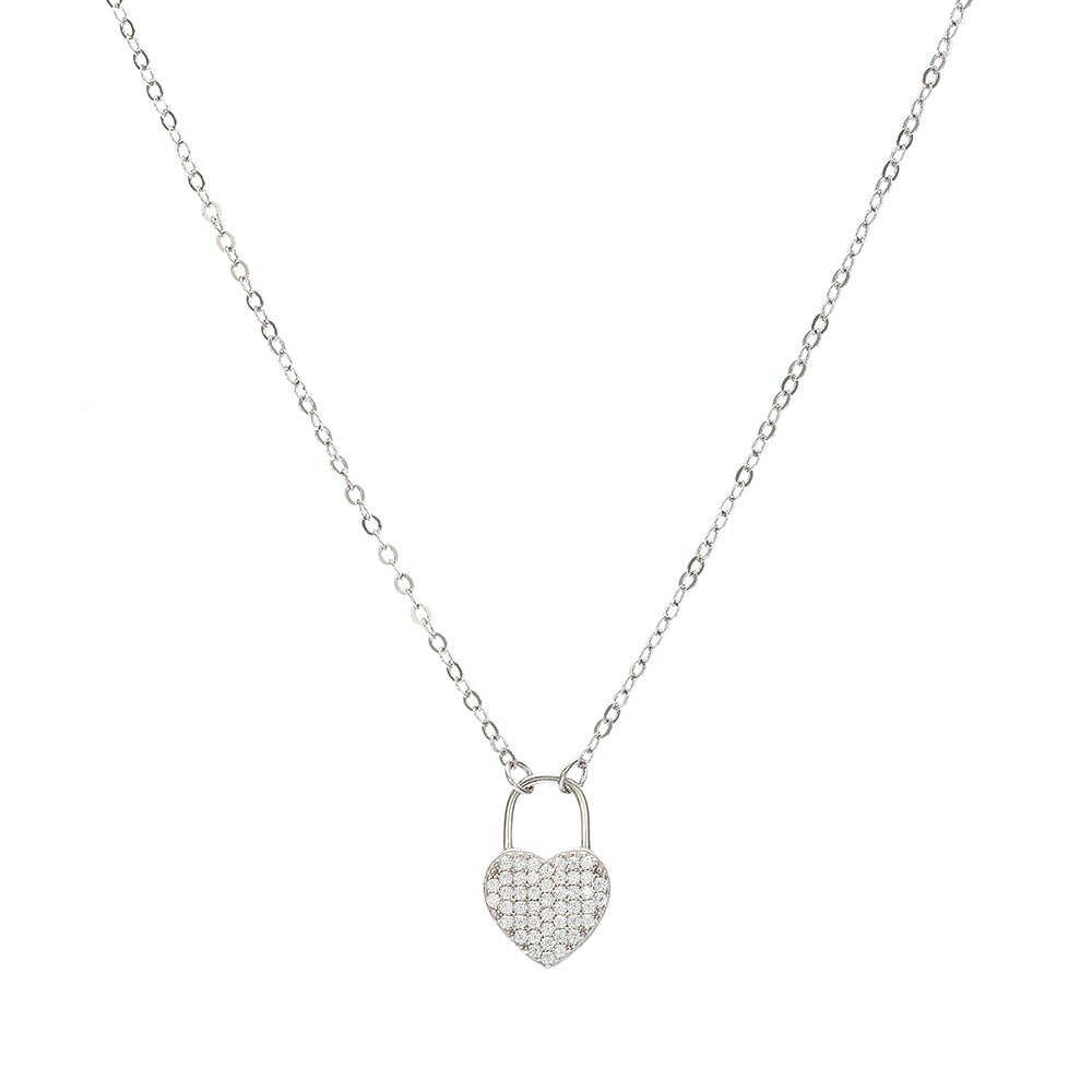 Sterling Silver Love Lock Necklace
