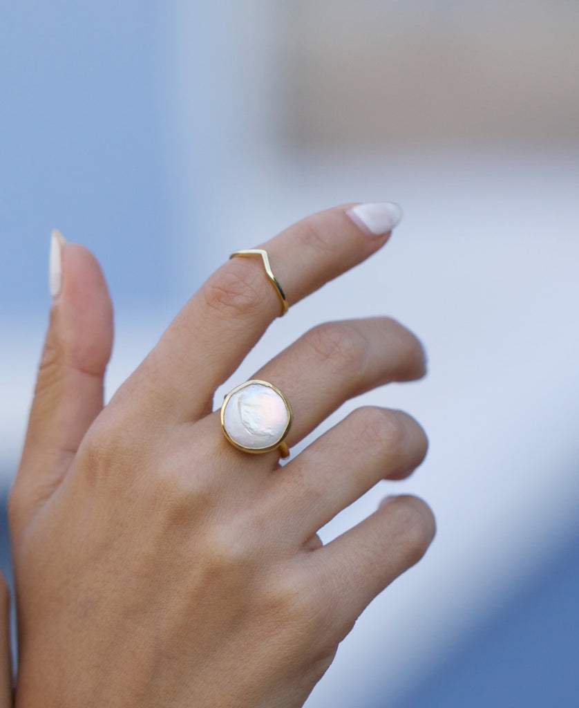 Mother of Pearl Stone Gold Plated Ring