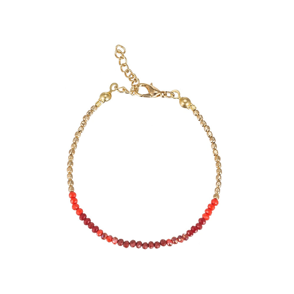 Red Beaded Tone-on-Tone Friendship Bracelet in Gold Plated