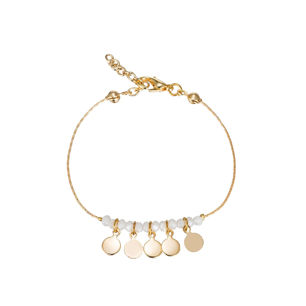 Five Flakes Gold Plated Bracelet