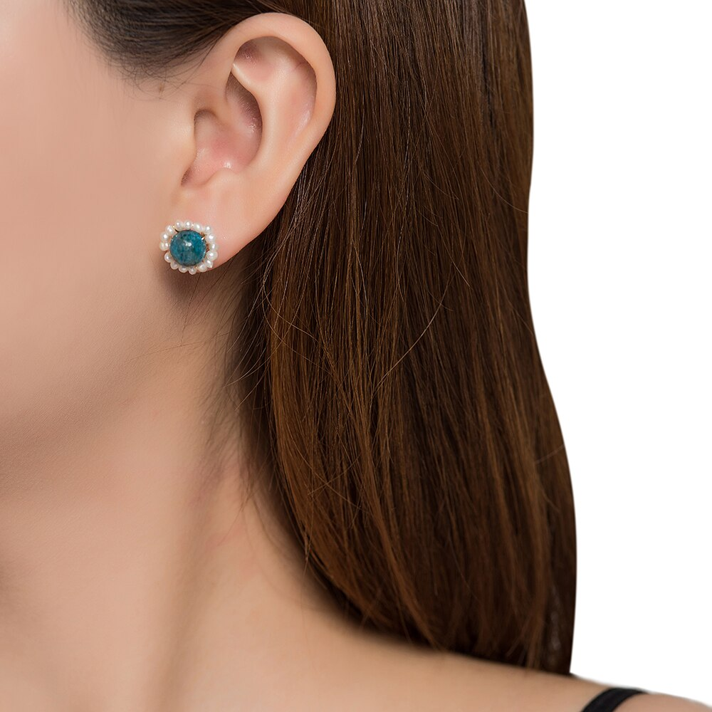 Turquoise and Pearl Stud Earrings