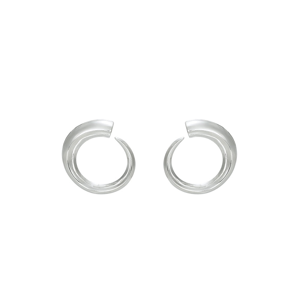 Silver Round Statement Earrings