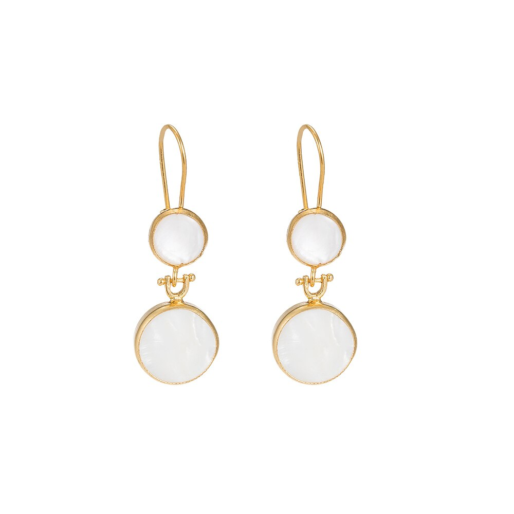 Mother of Pearl Double Stone Earrings