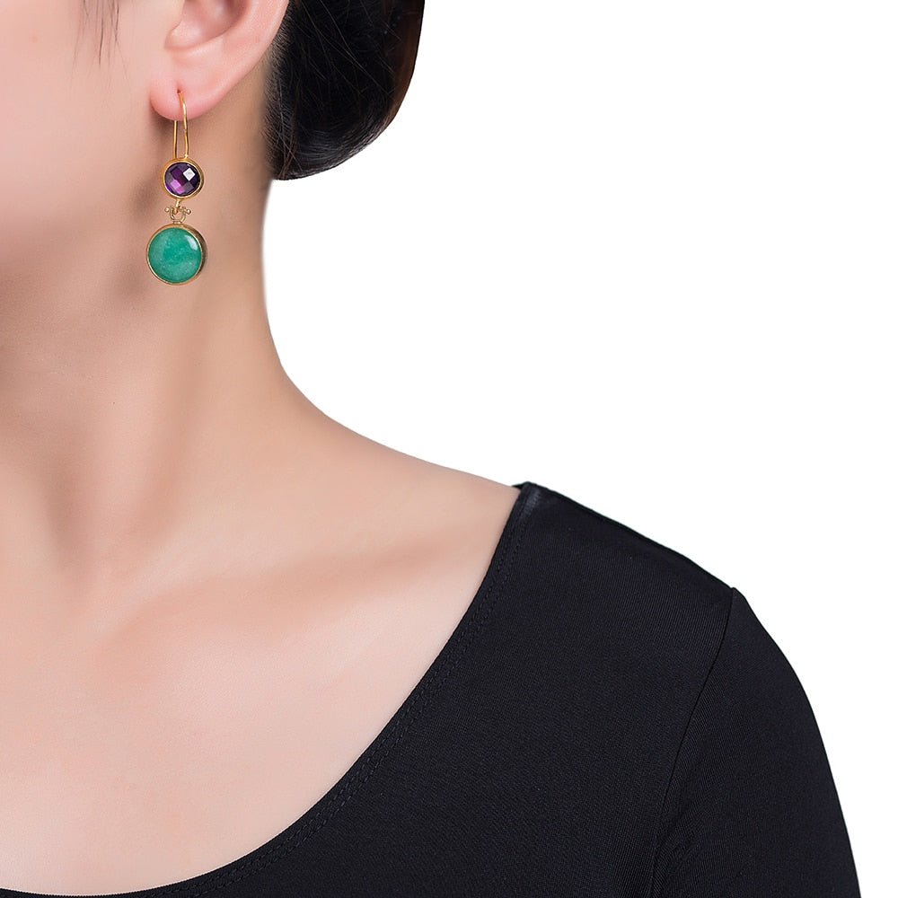 Green and Purple Double Stone Earrings