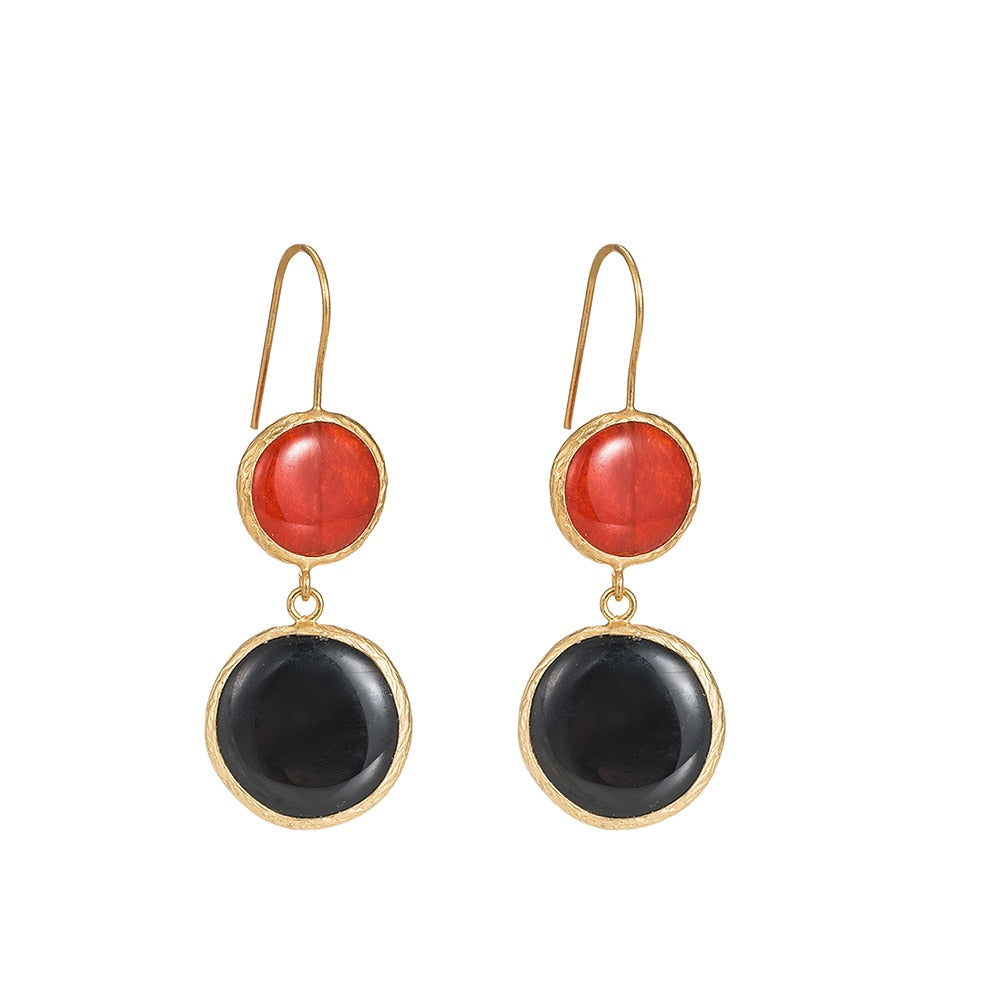 Red Jasper and Black Onyx Stone Earrings