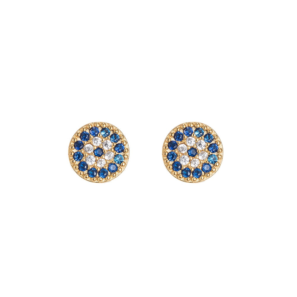 Evil Eye Stud Earrings in Gold Plated