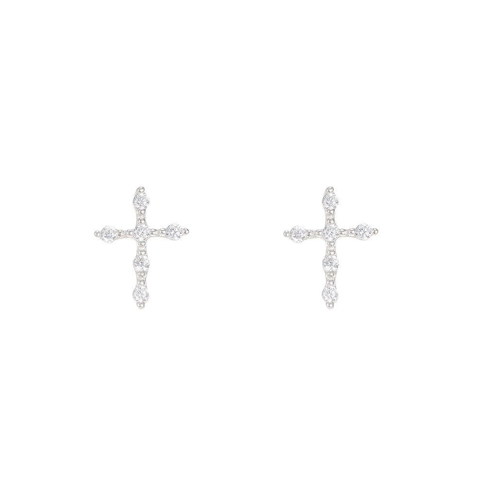 Cross Sterling Silver Stud Earrings