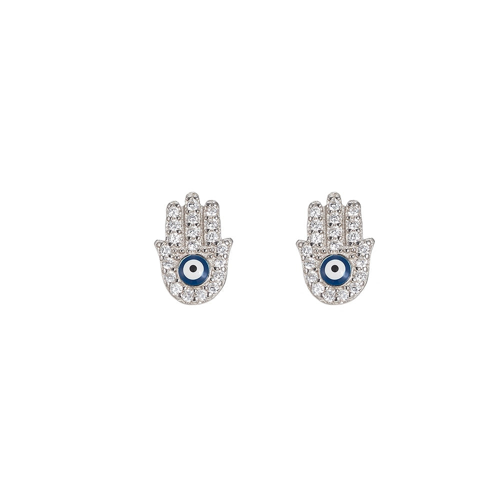 Fatima Hand Sterling Silver Stud Earrings