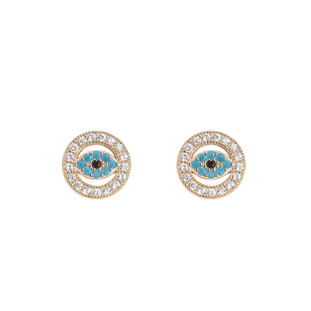 Circular Zirconia Evil Eye Stering Silver Stud Earrings - Silver Stud Earrings