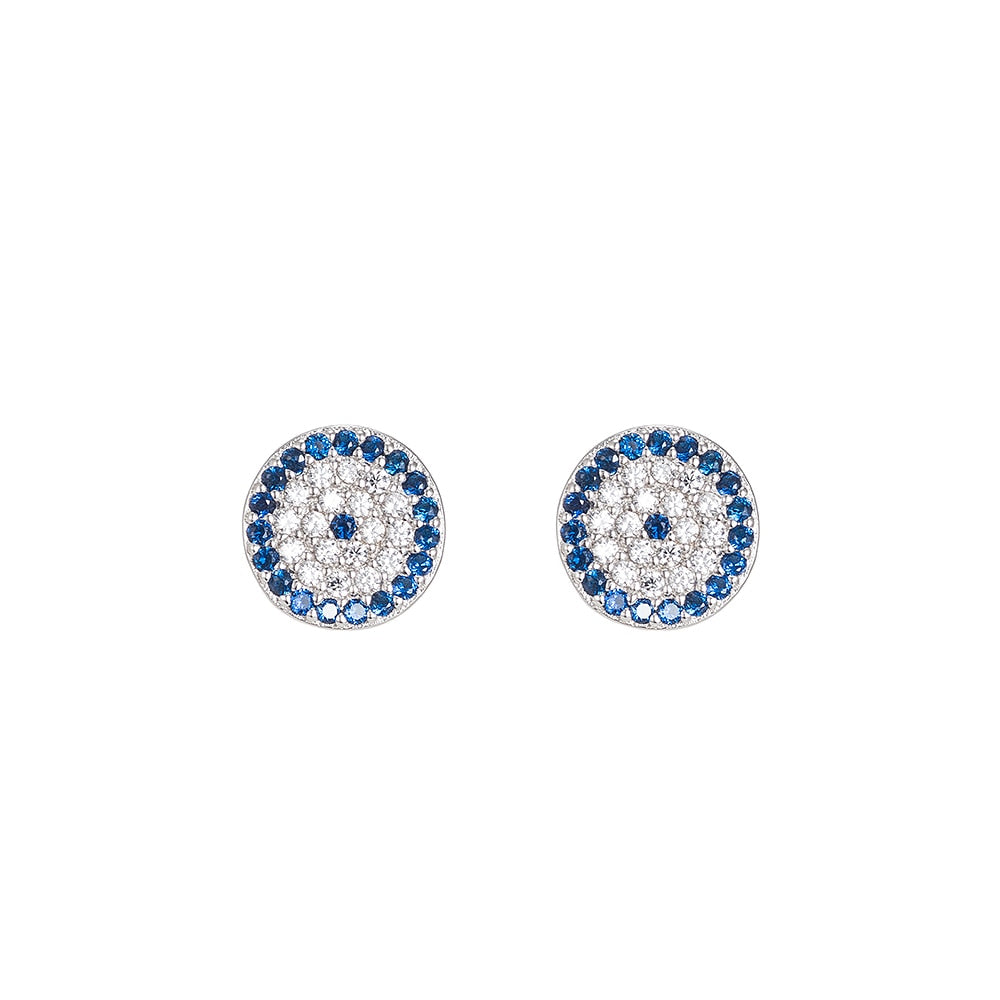 Round Evil Eye Sterling Silver Stud Earrings