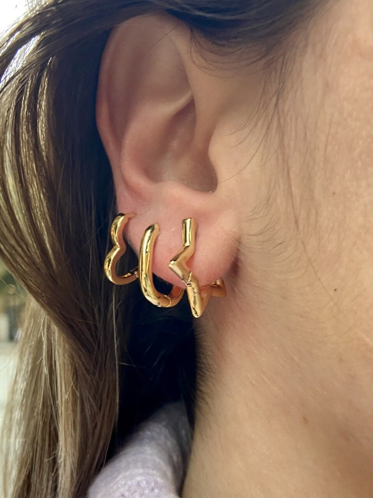 Gold Plated Heart  Plain Hoop Earrings