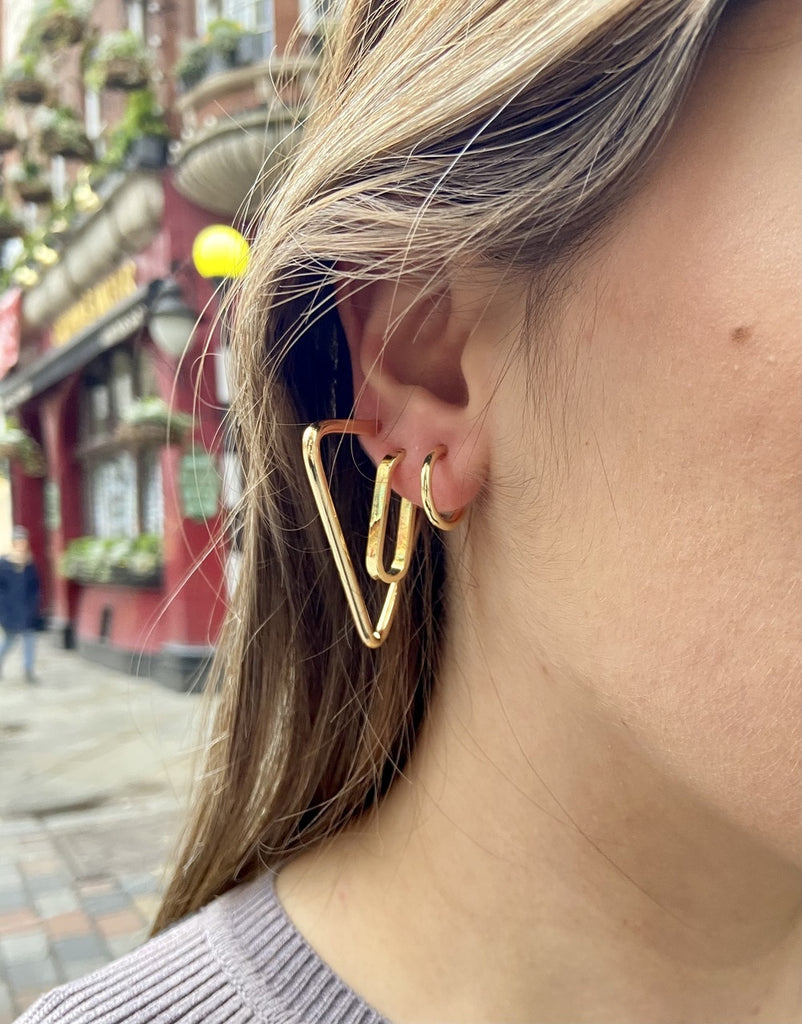 Gold Plated Small Triangle Hoop Earrings