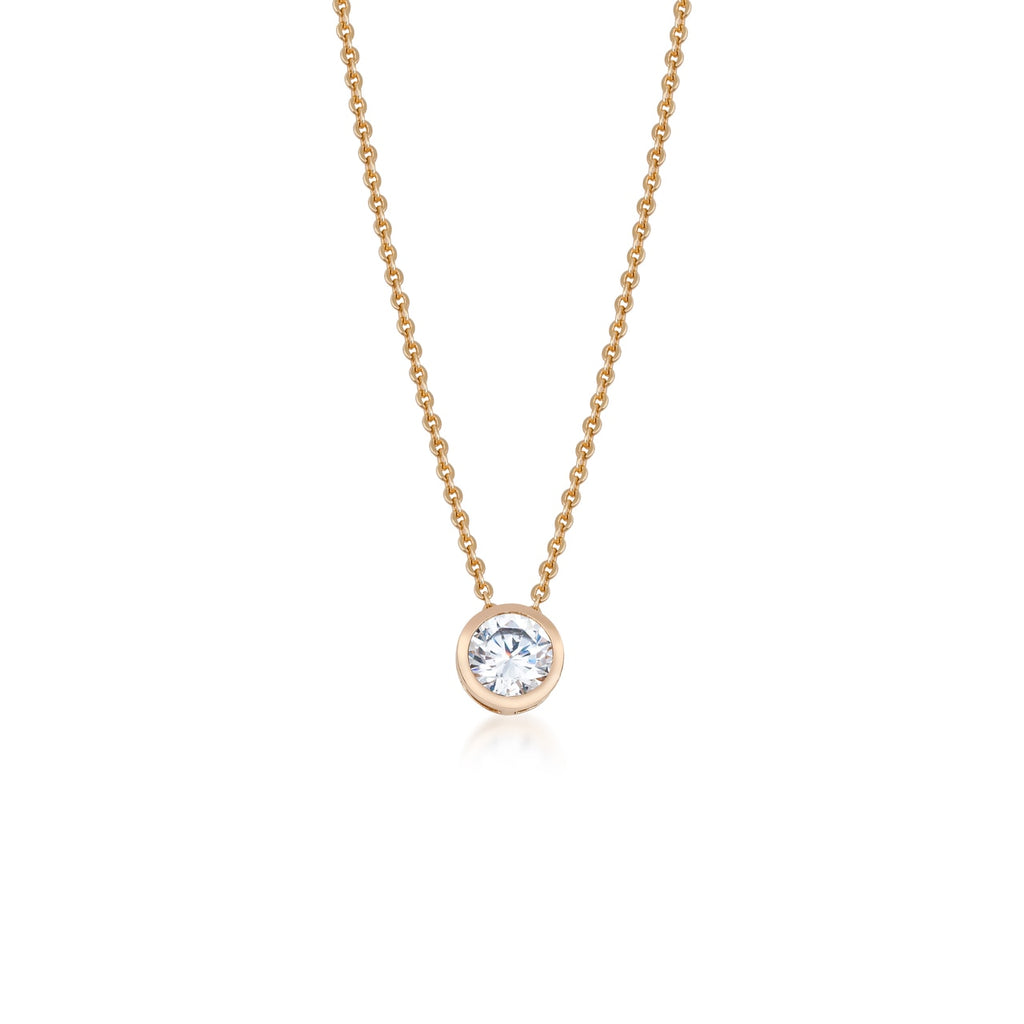 Stainless Steel Single Large CZ Necklace