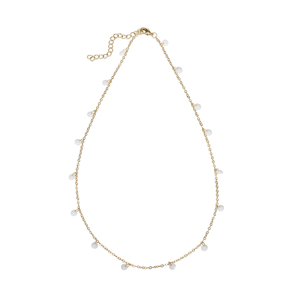White Gold Plated Dangly Crystal Necklaces
