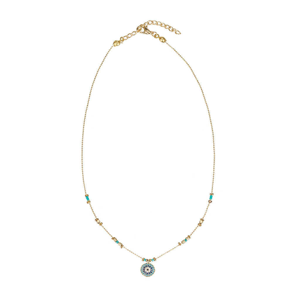 Circular Evil Eye Gold Plated Necklaces - Gold Necklace