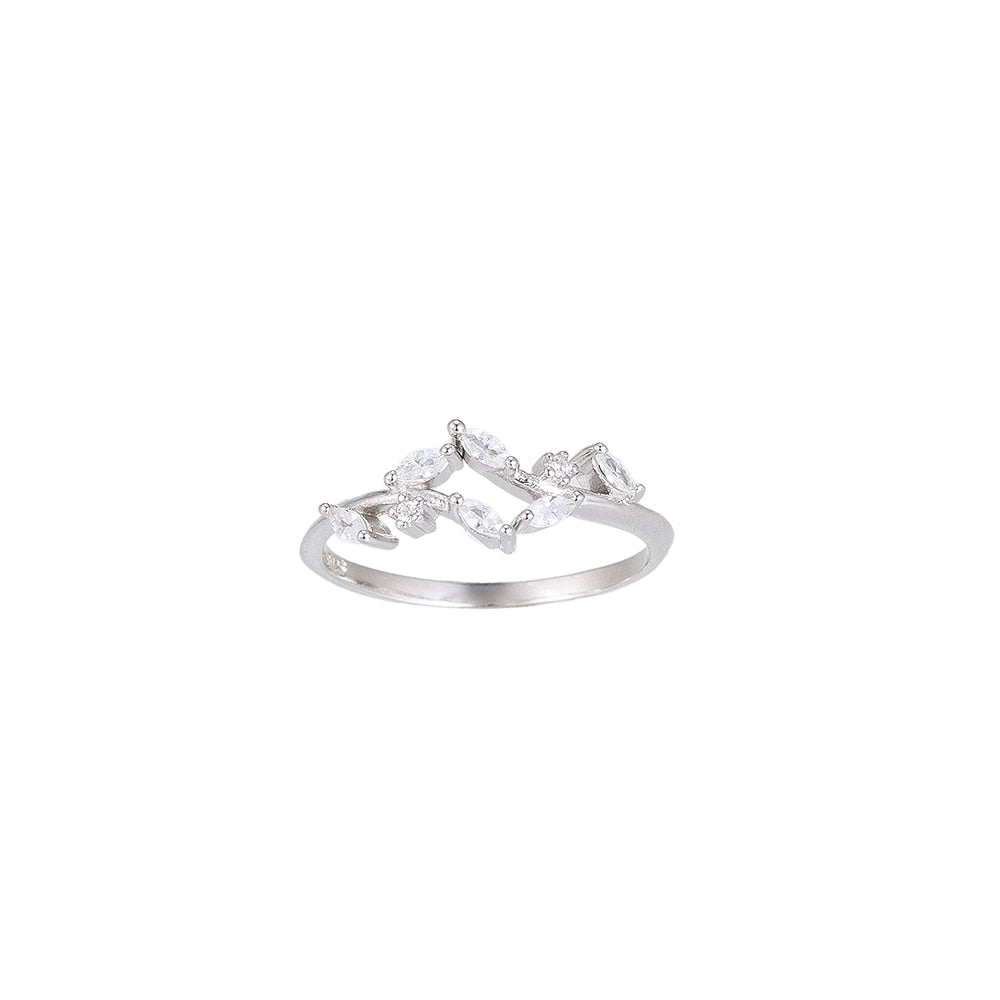 Zirconia Leaves Sterling Silver Ring