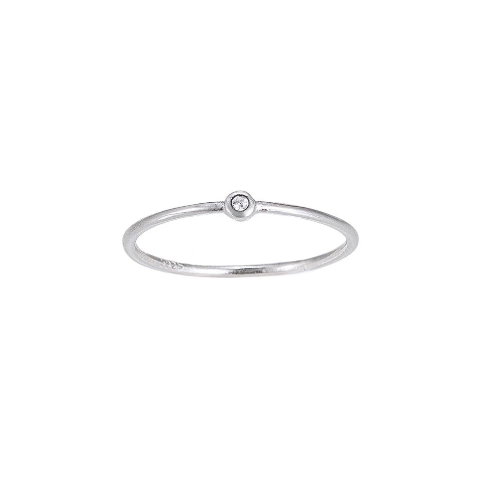 Single Zirconia Plain Sterling Silver Ring