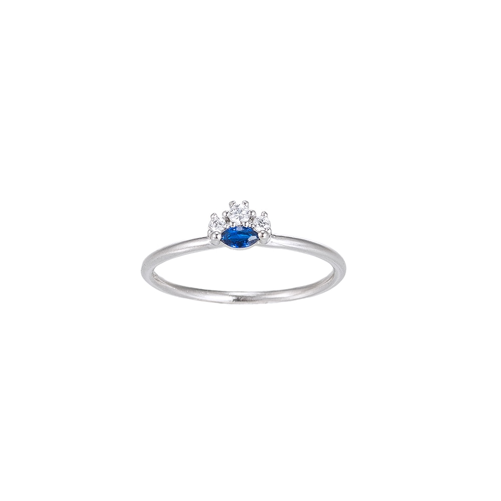 Sapphire with Zirconia Sterling Silver Ring