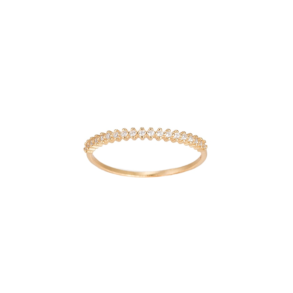 Gold Bunch of Zirconia Sterling Silver Ring