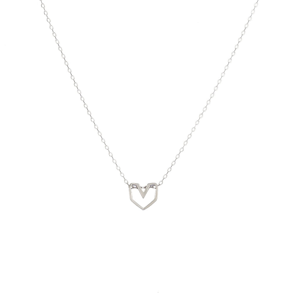Silver Funky Heart Necklace