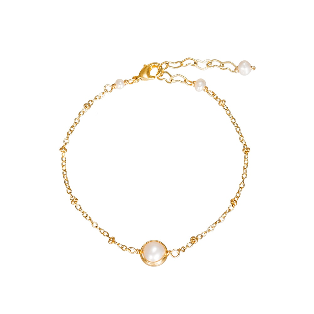 Gold Plated Single Pearl and Beads Bracelet