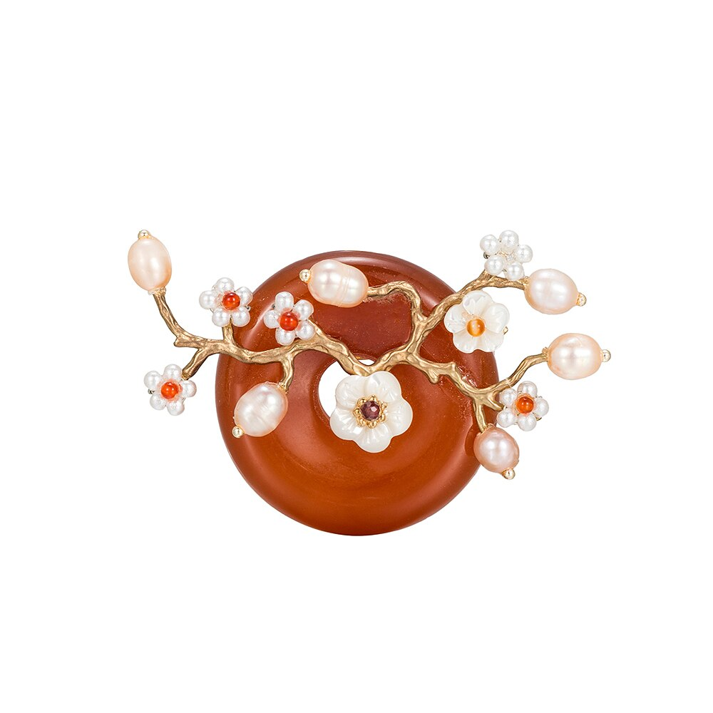 Circle Brown Agate Freshwater Pearl Brooch
